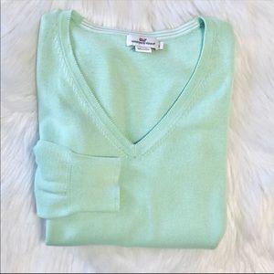Vineyard Vines Mint Green V-Neck Sweater Sz L